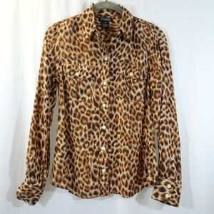 LUCKY BRAND Leopard Print Silk Button Front Blouse